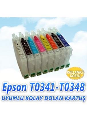 Epson T0341-T0348 (8 Renk) Uyumlu Kolay Dolan Kartuş
