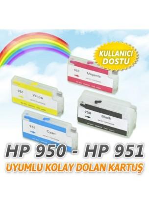 HP 950 - 951 (4 renk) Uyumlu Kolay Dolan Kartuş